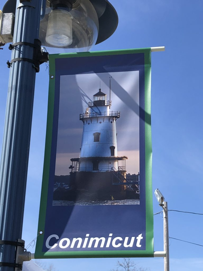 Larger view of the CVA Banner on historical light pole