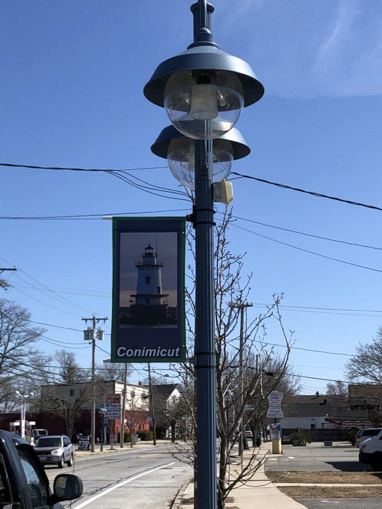 Historic Lamp Post with CVA Banner